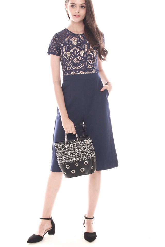 Intricate Lace Overlay Culottes Romper in Navy
