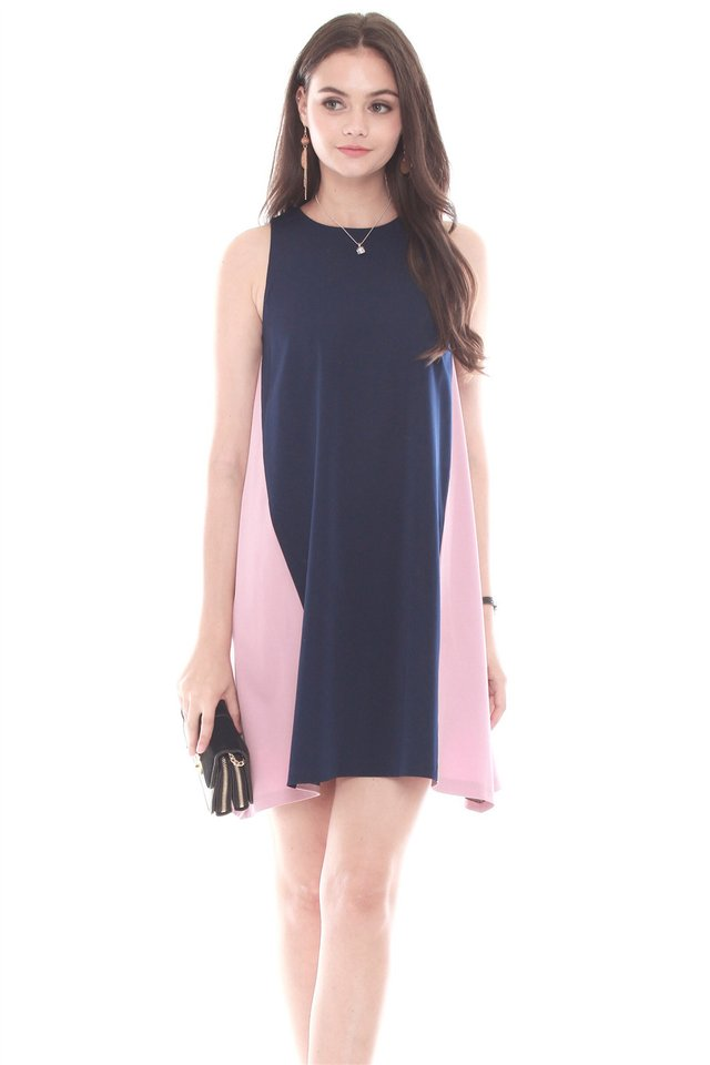 Colourblocking Panel Trapeze Dress in Navy