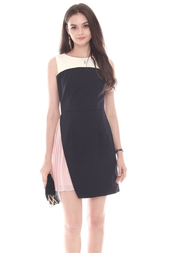 Asymmetrical Foldover Pleated Work Dress in Navy