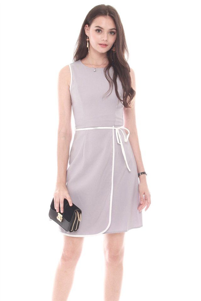 Piping Sash Tie Work Dress in Dusty Grey