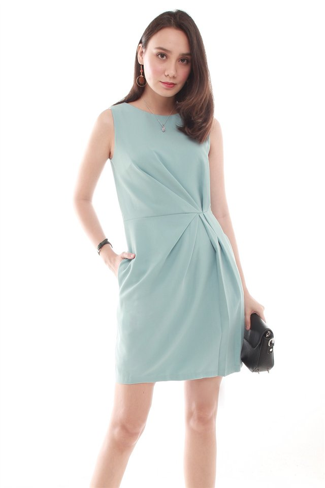 Waist Gathered Work Dress in Ash Blue