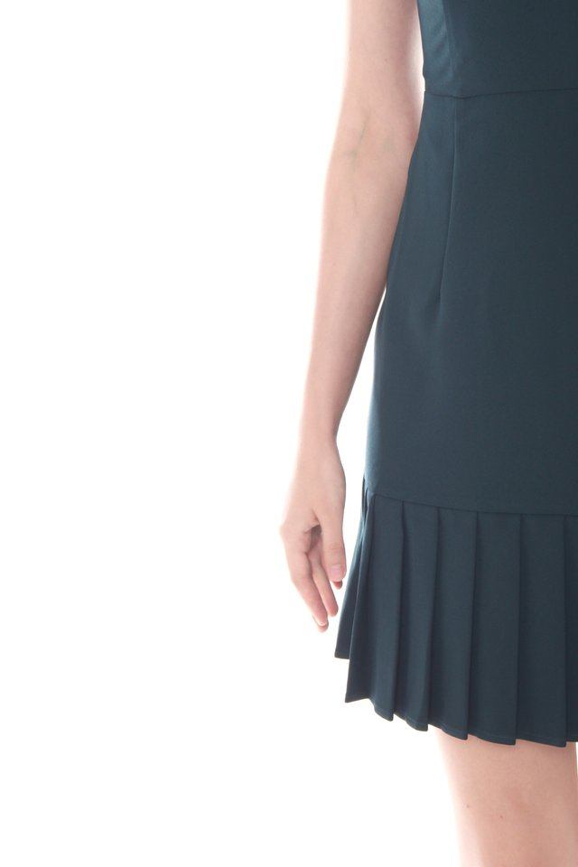 Pleated Hemline Fit and Flare Dress in Emerald
