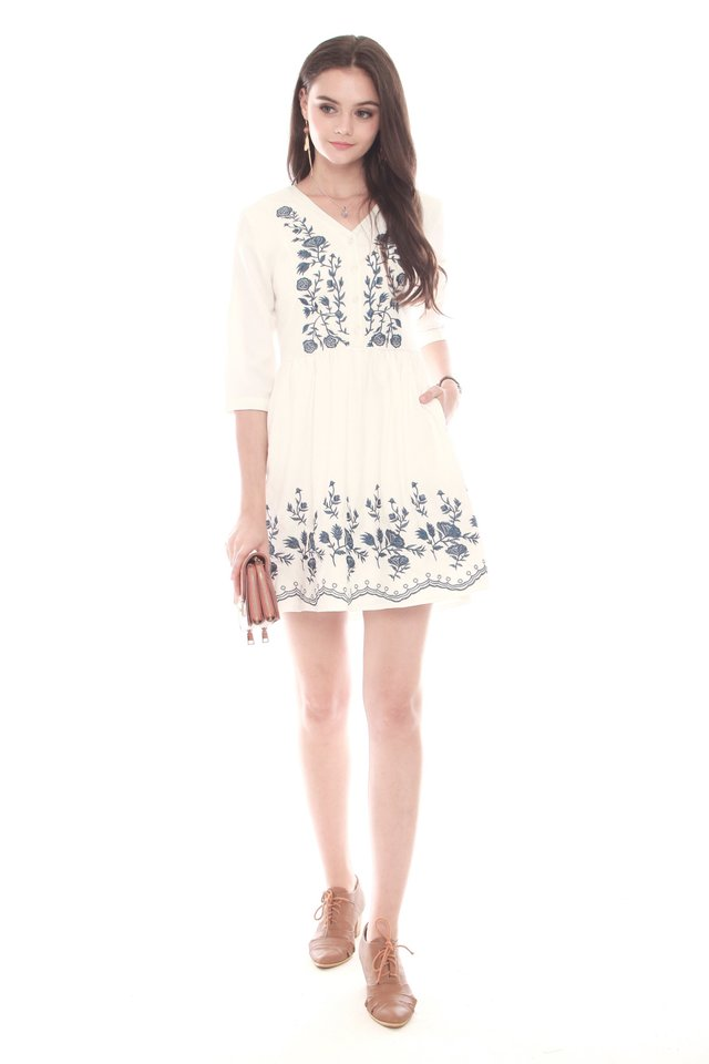 *Backorder* Blue Embroidery Babydoll Dress in White