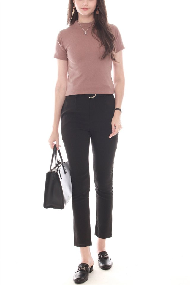 High Neck Basic Mod Sleeved Top in Cocoa