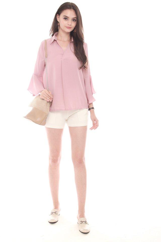 Bell Sleeve Flutter Shirt in Dusty Pink