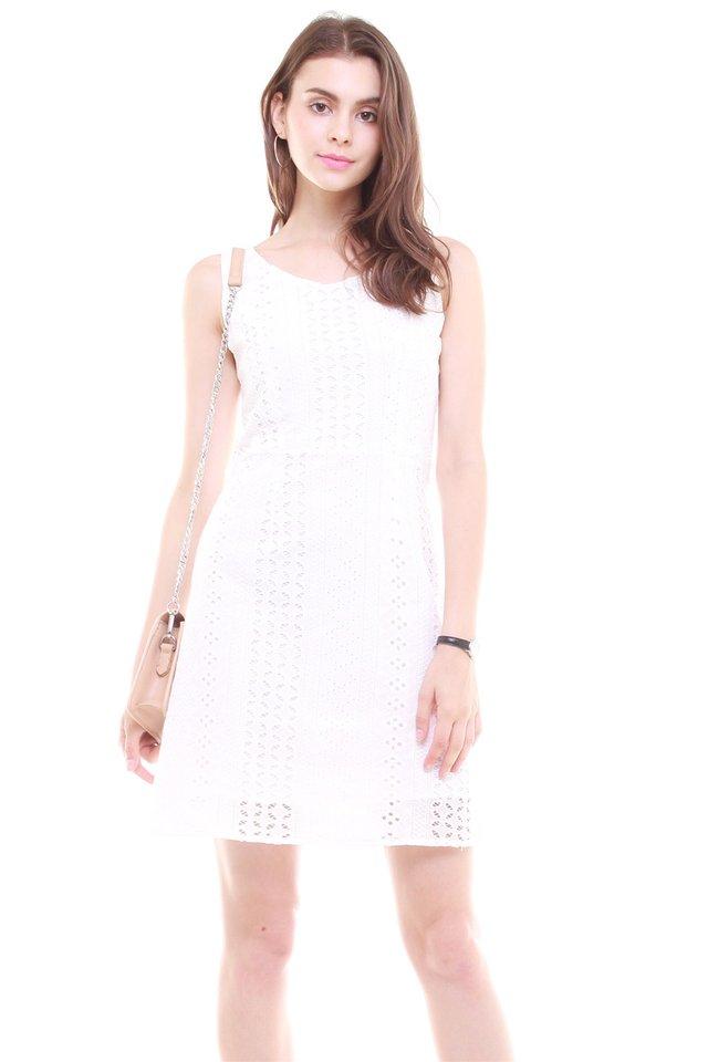 Crotchet Overlay Sash Tie Dress in White