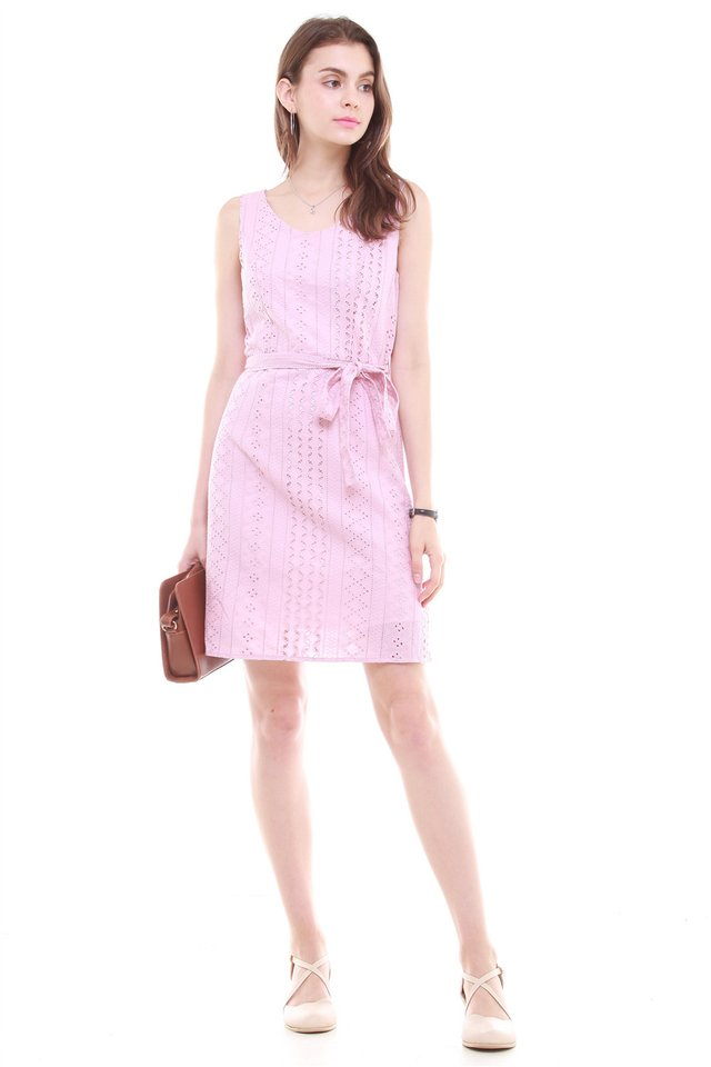 Crotchet Overlay Sash Tie Dress in Dusty Pink