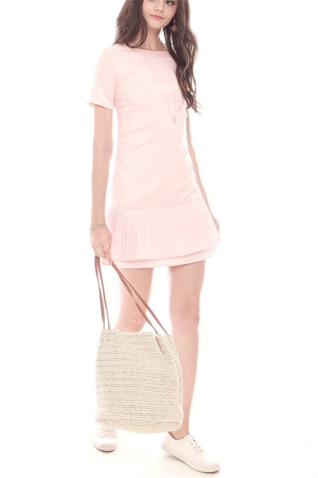Double Pleated Hem Shift Dress in Peach