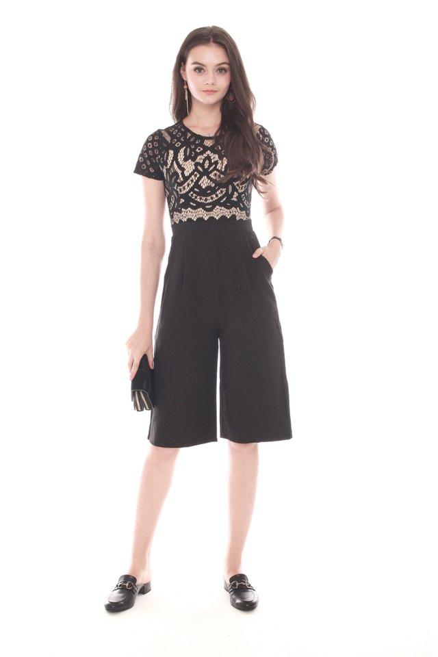 Intricate Lace Overlay Culottes Romper in Black