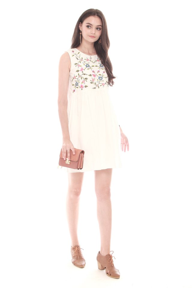 *Backorder* Garden Embroidery Babydoll Dress in White