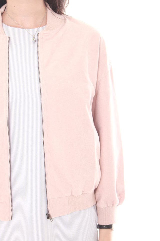 Suede Bomber Jacket in Dusty Pink