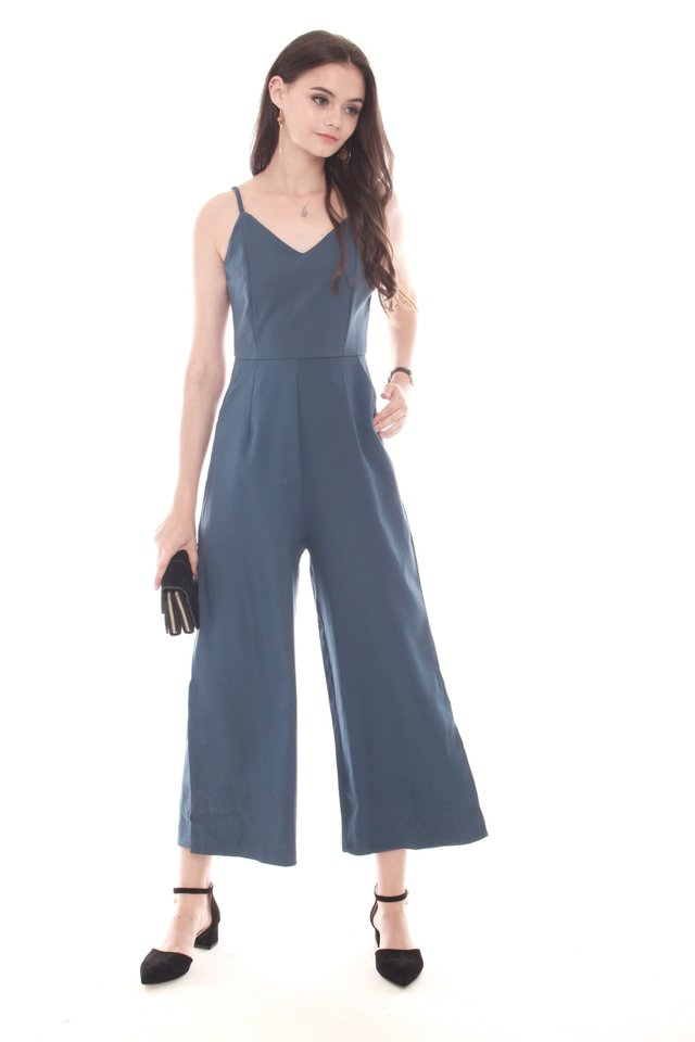 *BACK IN STOCK* Basic Strapped Jumpsuit in Ash Blue