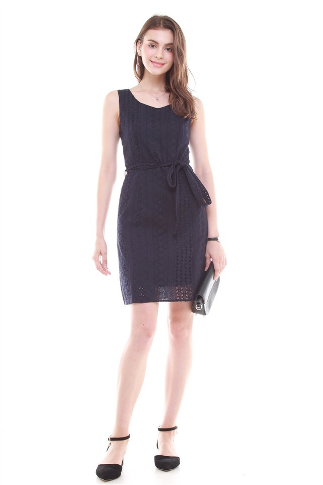 Crotchet Overlay Sash Tie Dress in Navy