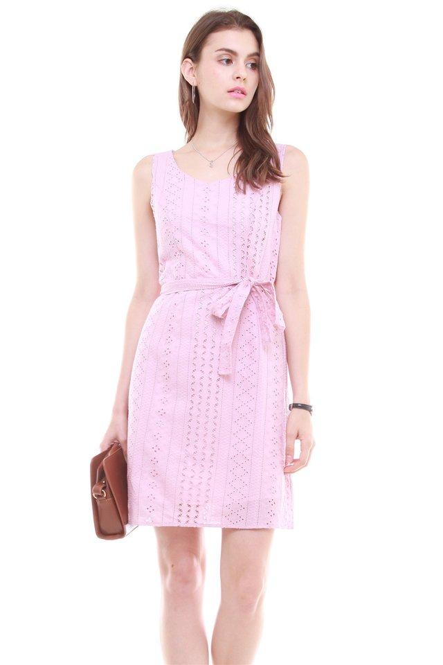 Crotchet Overlay Sash Tie Dress in Dusty Pink