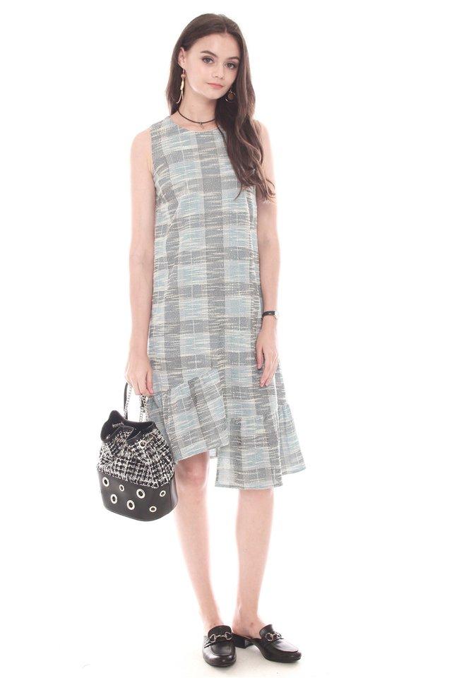 Tweed Textured Asymmetrical Hem Dress