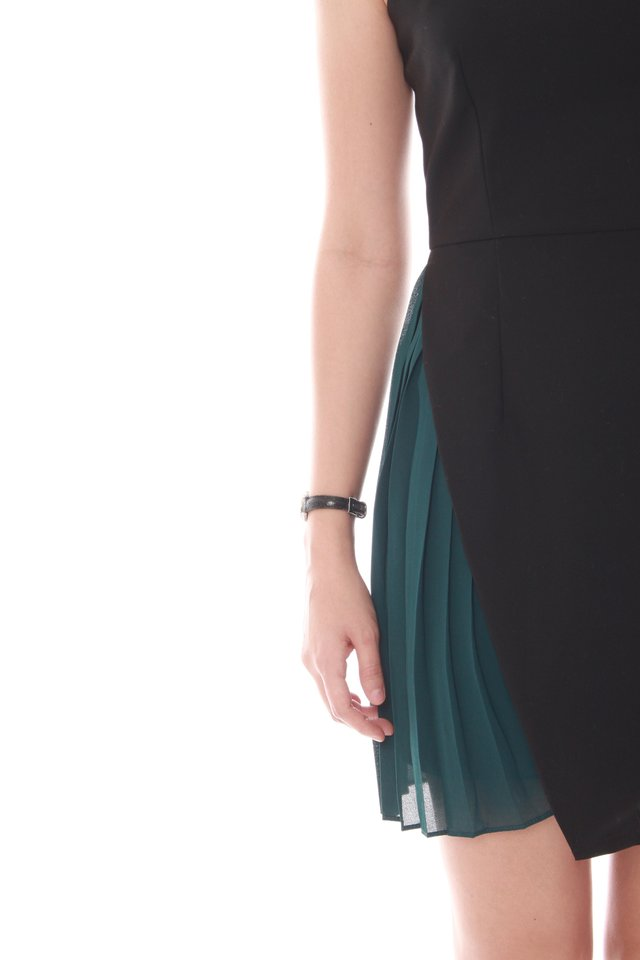 Asymmetrical Foldover Pleated Work Dress in Emerald