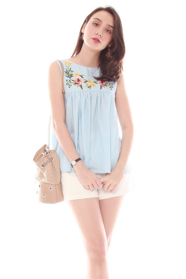 ACW Coloured Embroidery Swing Top in Powder Blue