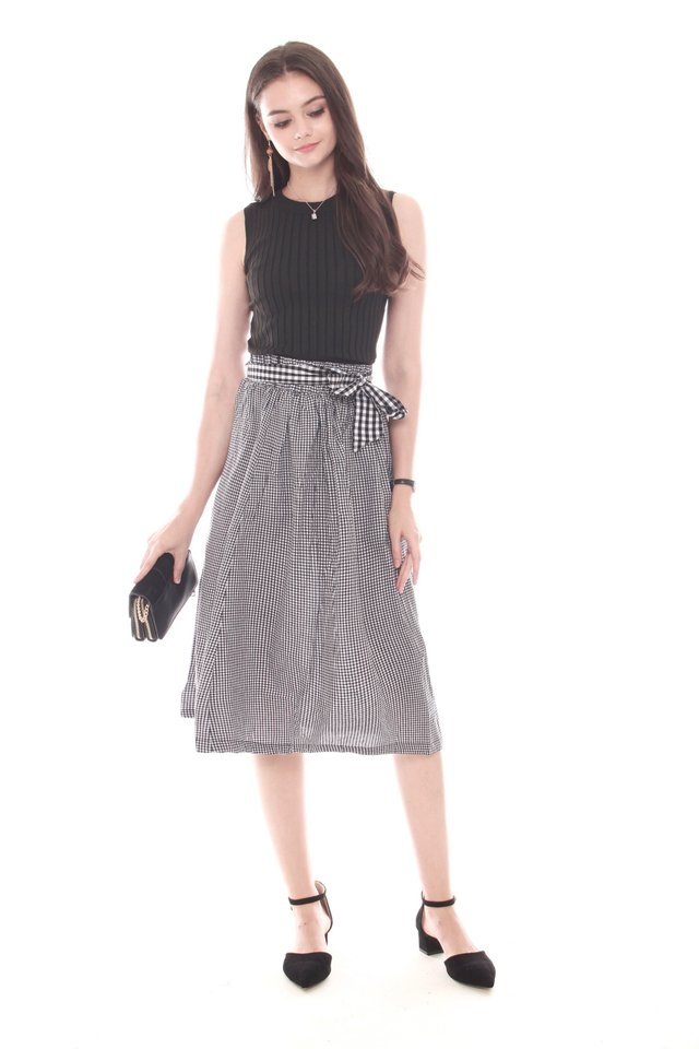Two Piece Knit Top and Gingham Skirt Set