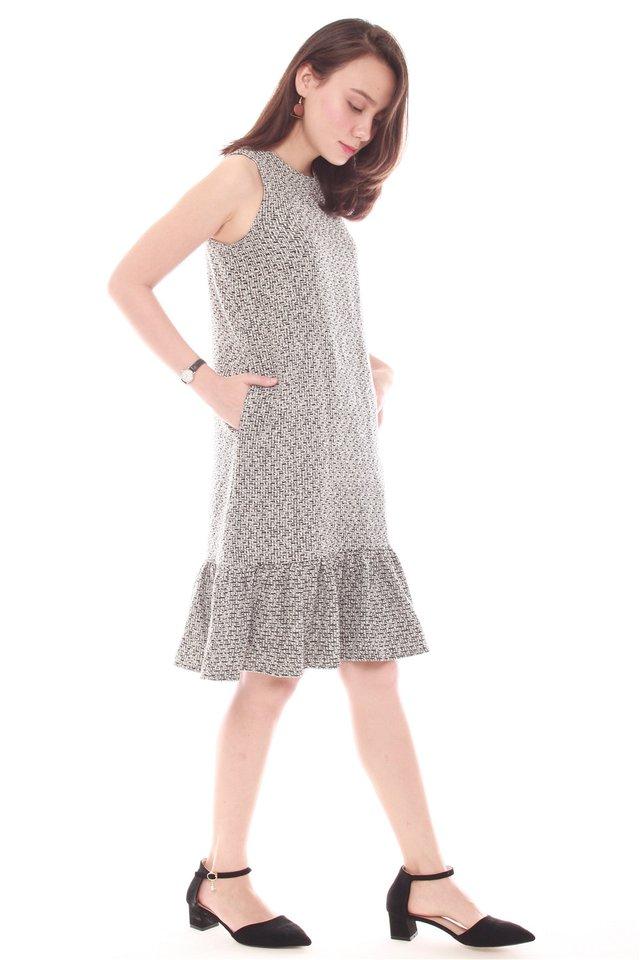 Tweed Textured Dropwaist Hem Dress in Dark Grey