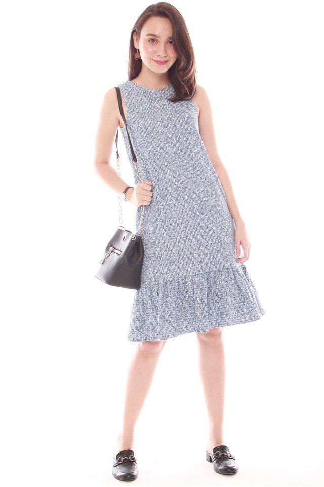 Tweed Textured Dropwaist Hem Dress in Blue