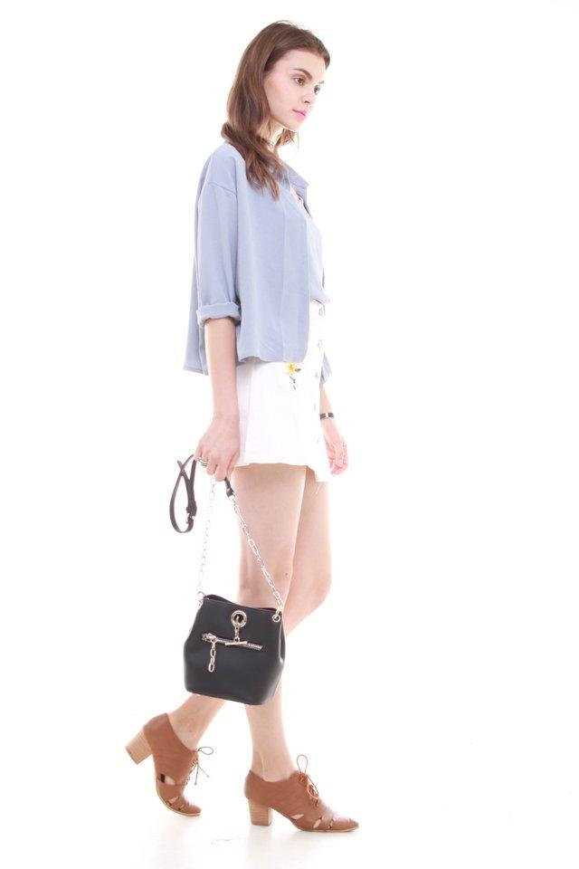 Cami Shirt Set in Ash Blue