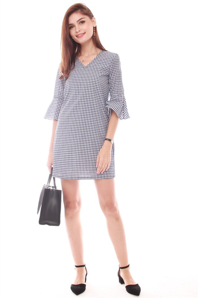 *Backorder 2* Bell Sleeve Shift Dress in Gingham