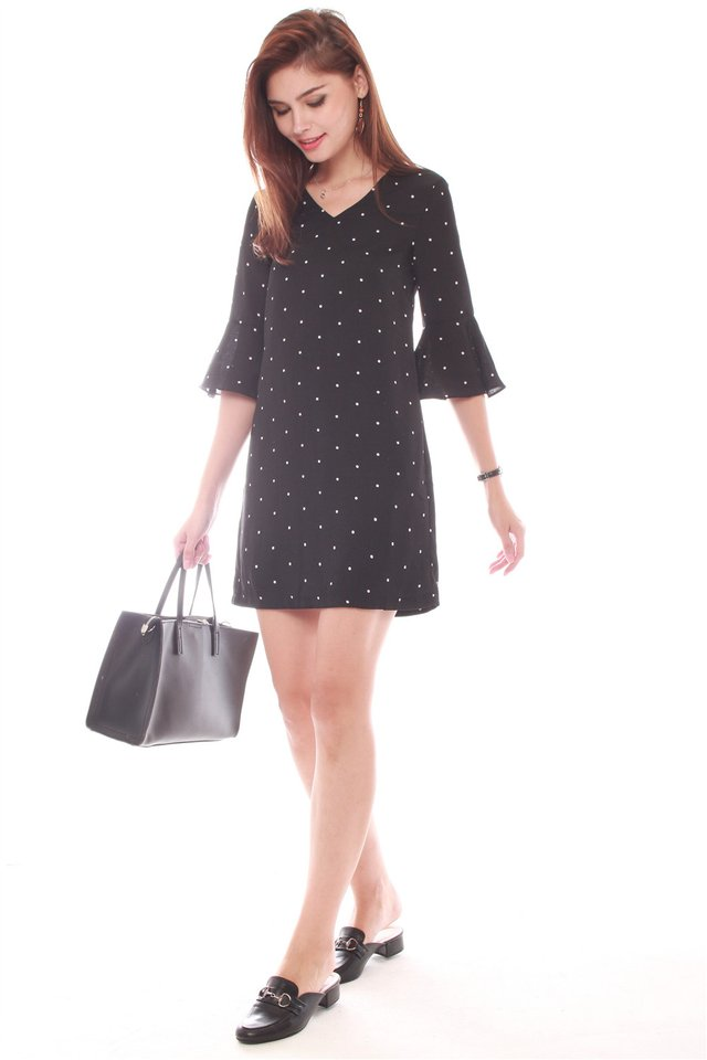 *Backorder* Bell Sleeve Shift Dress in Polka Dots