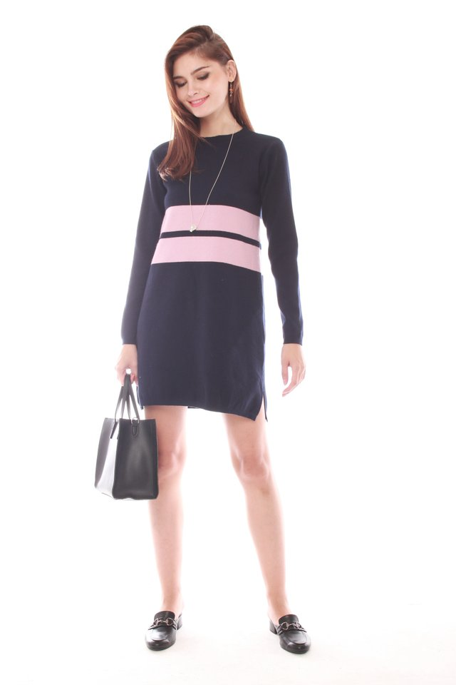 *Backorder* Oversized Double Striped Knit Dress in Navy
