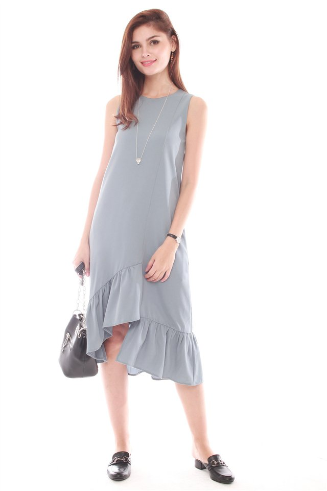 Asymmetrical Step Frill Hem Dress in Ash Blue