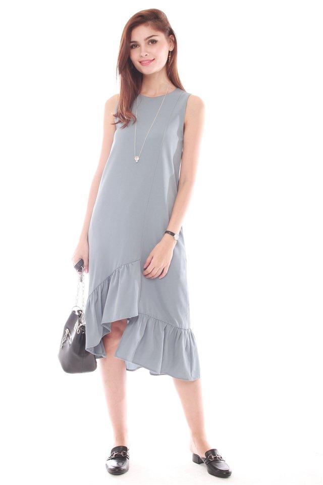 Asymmetrical Step Frill Hem Dress in Ash Blue