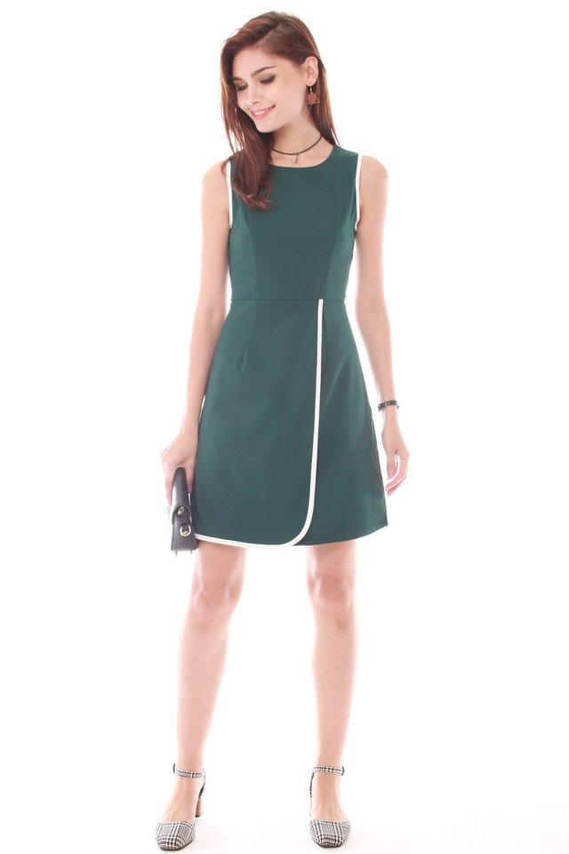 Piping Sash Tie Work Dress in Emerald