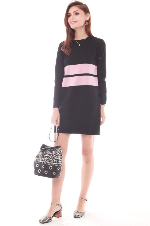 *BACK IN STOCK* Oversized Double Striped Knit Dress in Black