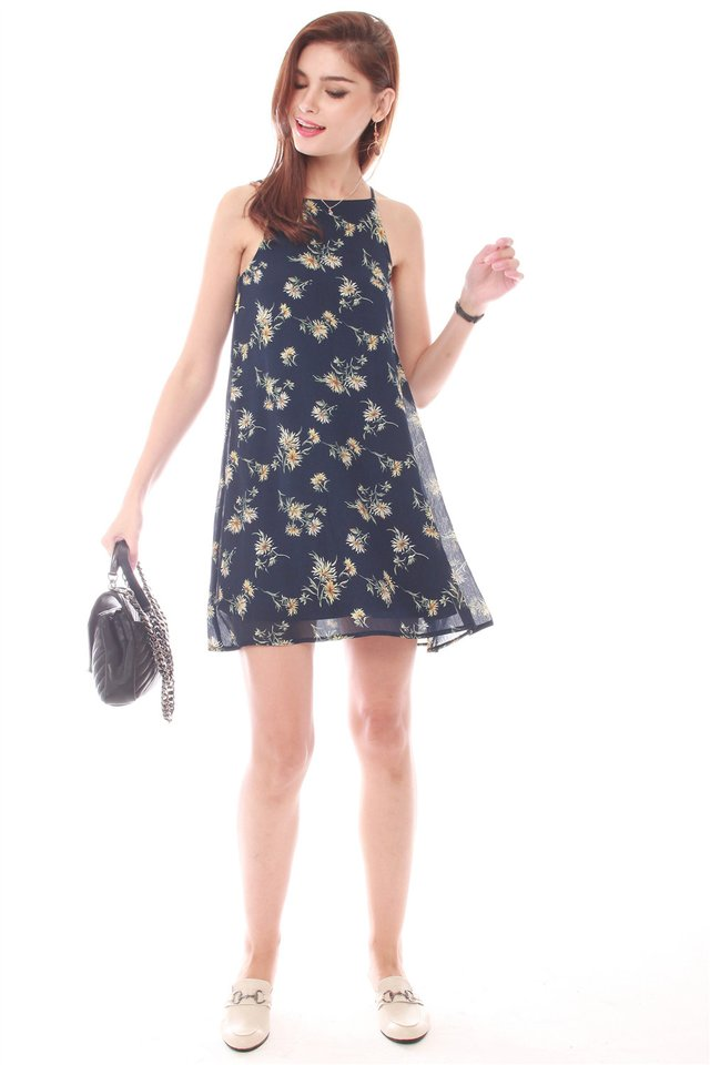 Daisy Field Trapeze Dress in Navy
