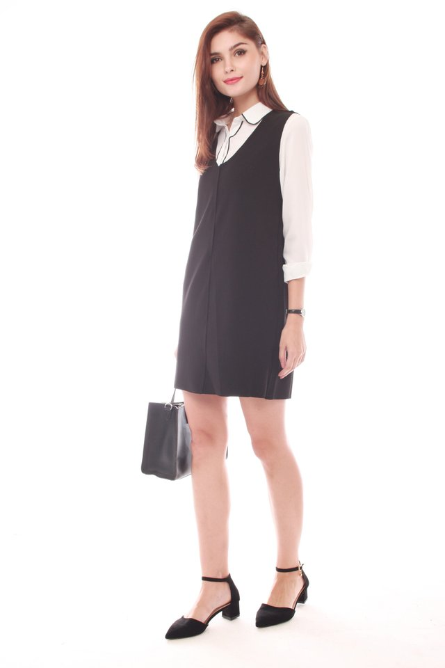 Two Piece Collared Shirt Dress in Black