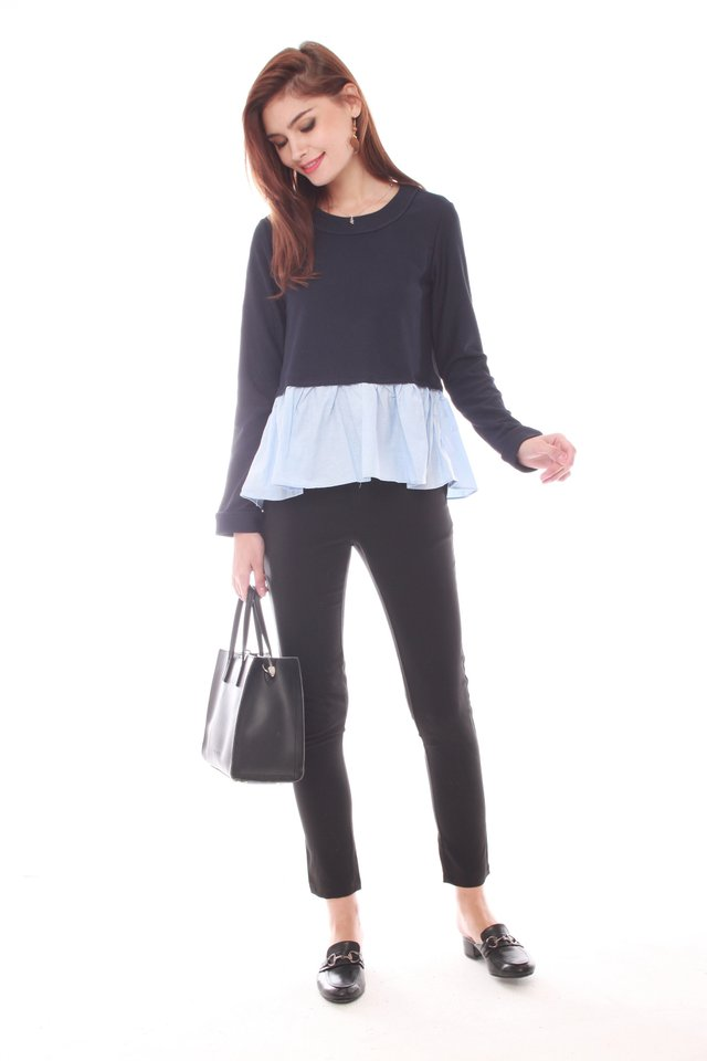 Knitted Faux Two Piece Long Sleeve Top in Navy