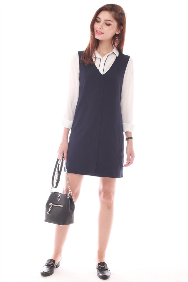 Two Piece Collared Shirt Dress in Navy