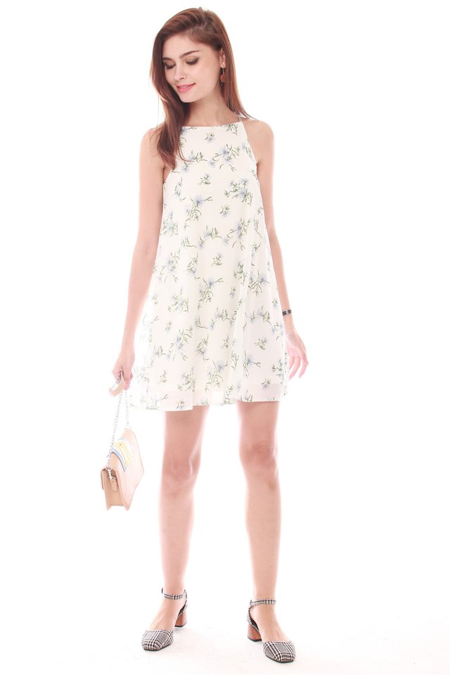 Daisy Field Trapeze Dress in White