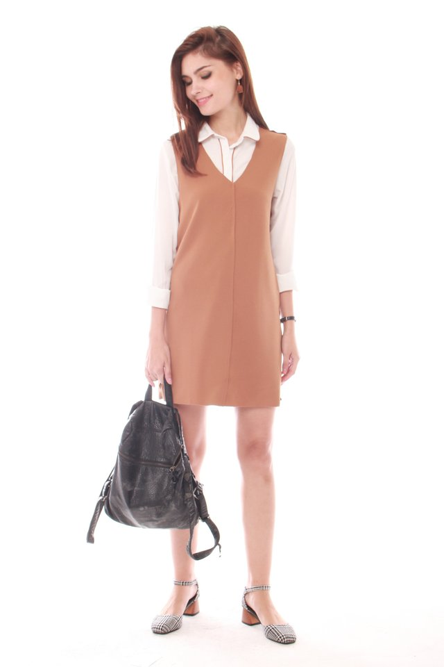 Two Piece Collared Shirt Dress in Camel