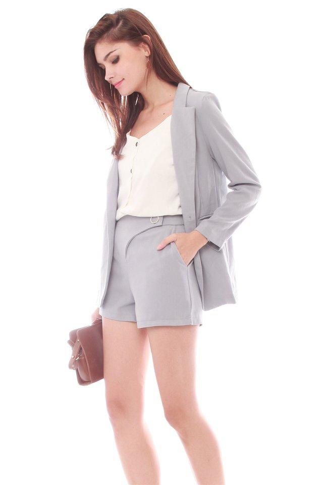 Structured Blazer & Shorts Set in Dusty Grey