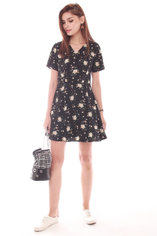 *Backorder* French Marigold Swing Dress in Black