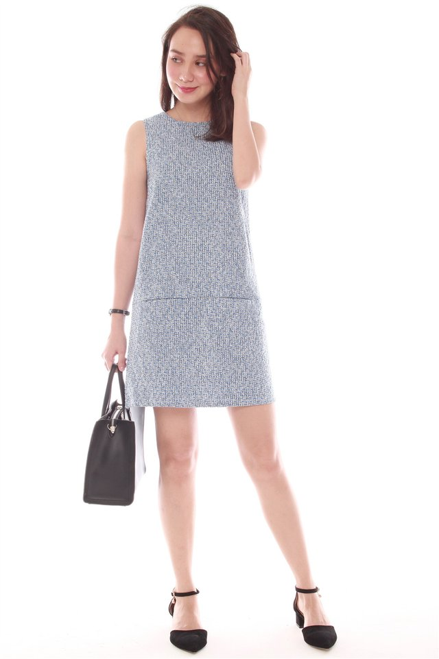 Structured Tweed Pocket Shift Dress in Blue