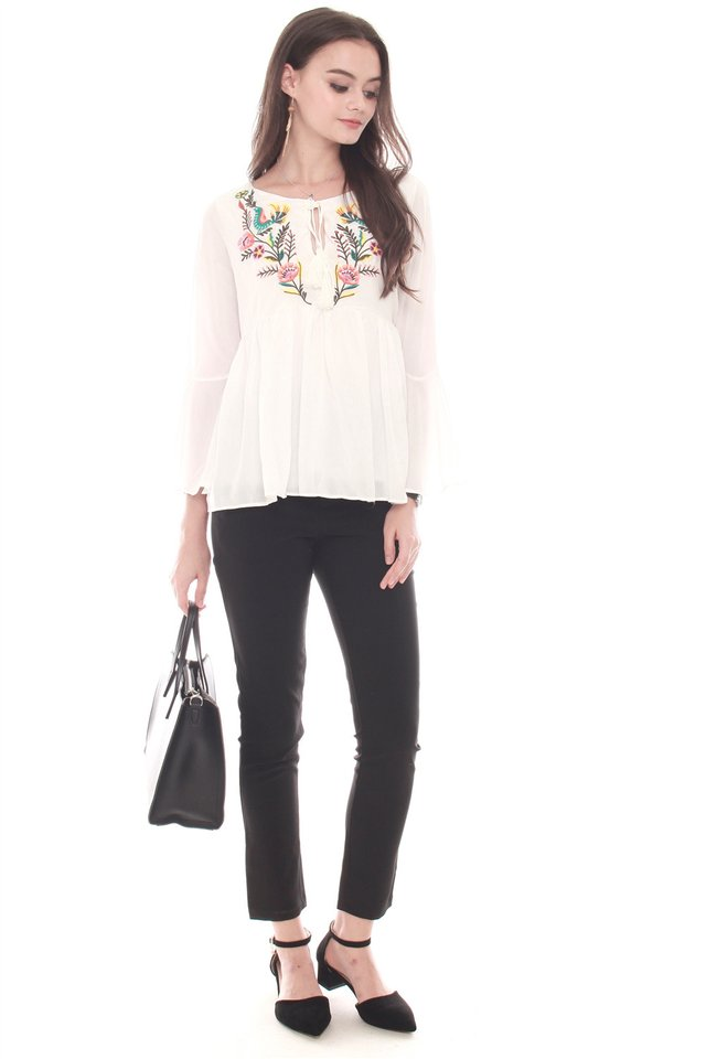 Embroidery Lace Tie Bell Sleeve Top in White