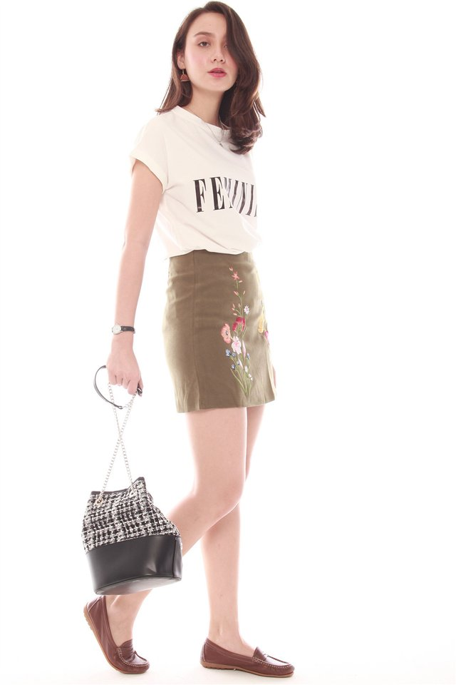 Coloured Embroidery Suede Skirt in Olive