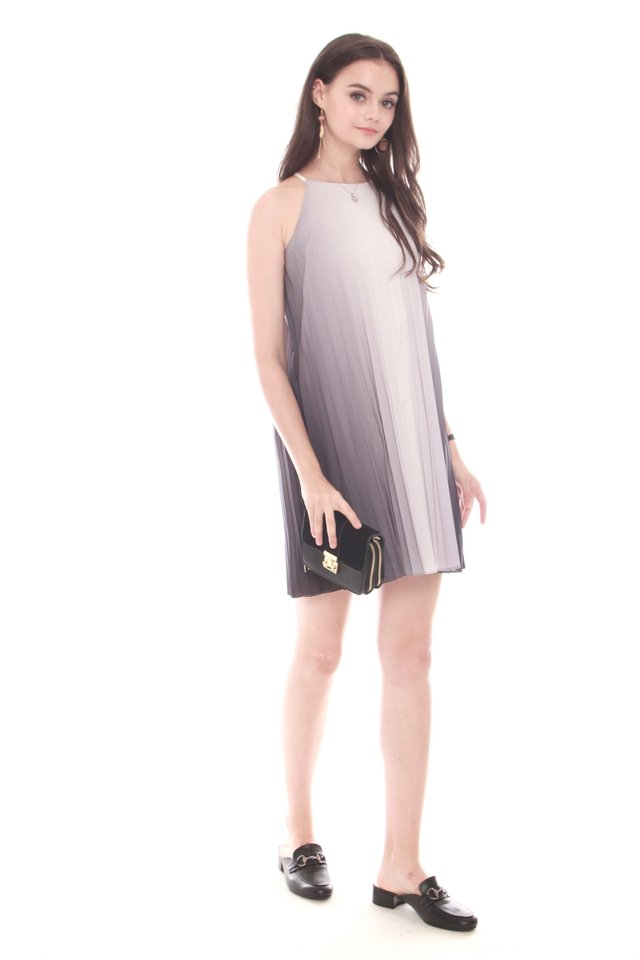 Ombre Pleated Trapeze Dress in Black