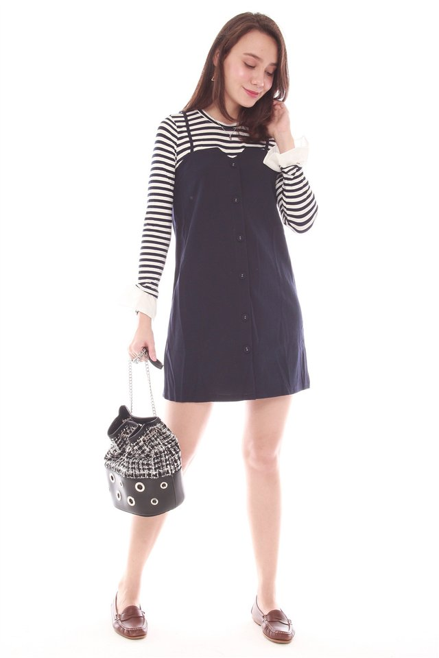 Faux Two Piece Button Striped Knit Dress in Navy