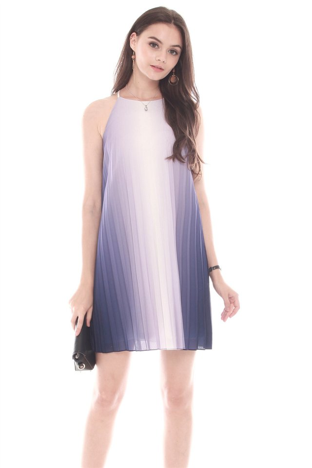 Ombre Pleated Trapeze Dress in Purple