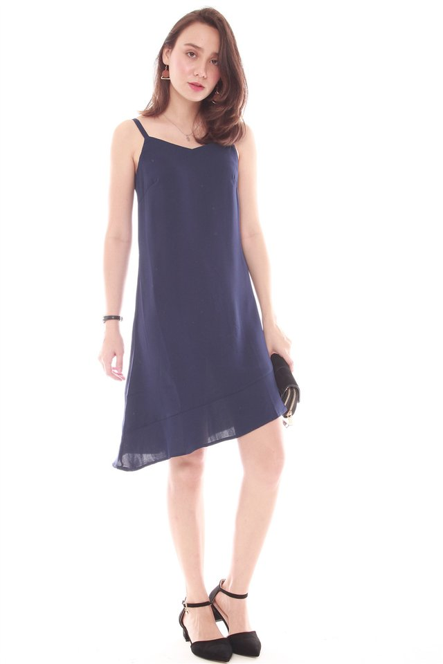 Three Way Overlay Asymetrical Dress in Terracotta-Navy