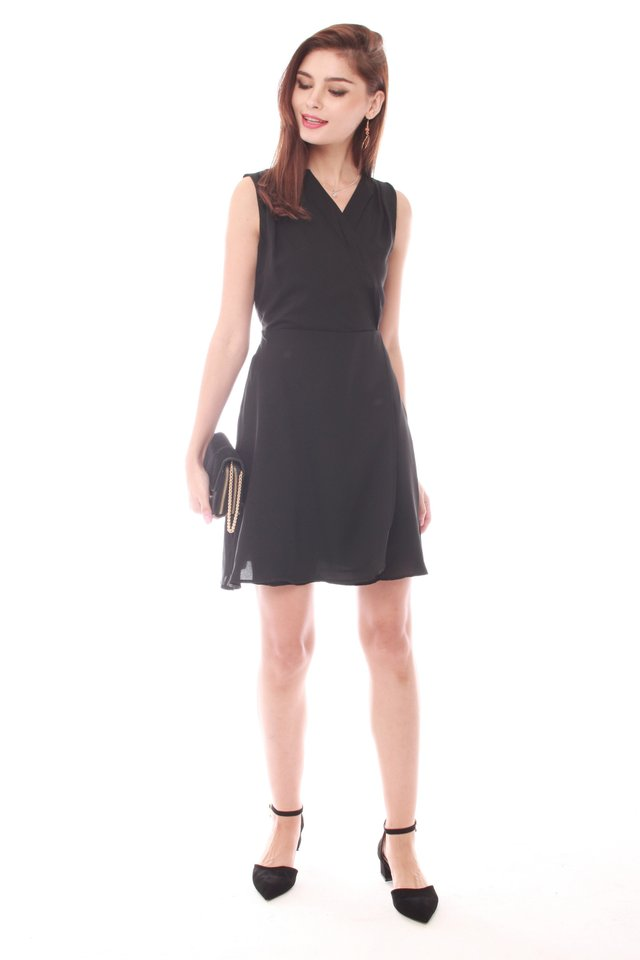ACW Front Wrap Work Dress in Black