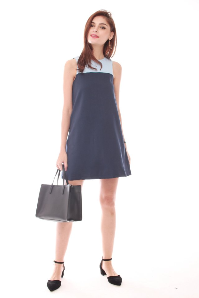 *BACK IN STOCK* ACW Colourblock Pocket Trapeze Dress in Sky