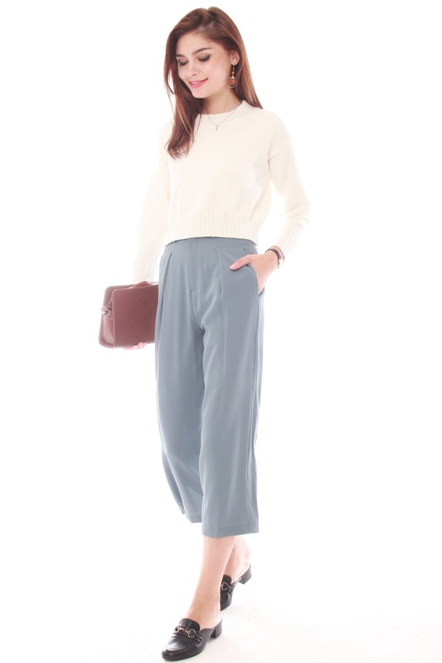 *Backorder* ACW Straight Cut Culottes in Ash Blue (S/M)